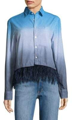 Opening Ceremony Feather-Trim Dip-Dye Oxford Cotton Shirt