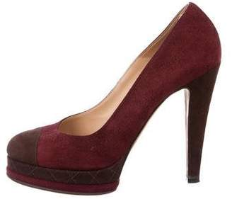 Chanel CC Cap-Toe Platform Pumps