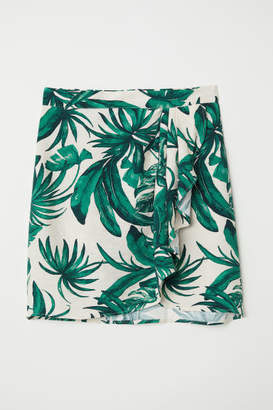 H&M Patterned Wrap-front Skirt - Green