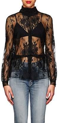 Balenciaga Women's Lace Scarf-Neck Peplum Blouse