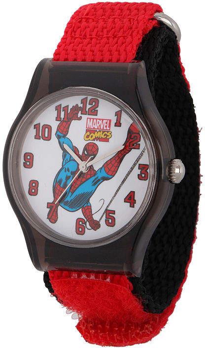 MARVEL Marvel Spider-Man Kids Red and Black Nylon Strap Watch