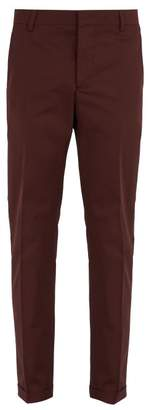 Prada Stretch Cotton Chino Trousers - Mens - Burgundy