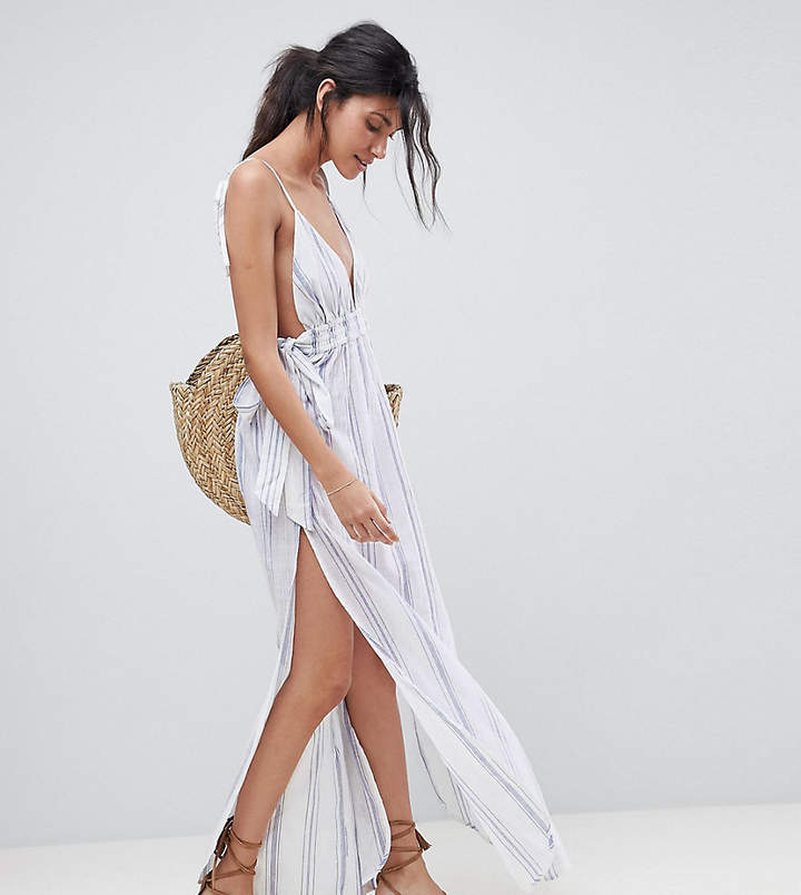TALL – Maxi-Strandkleid mit Streifen, in Naturfarbe