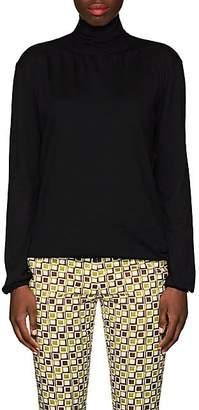 Prada Women's Virgin Wool Tieneck Blouse - Black
