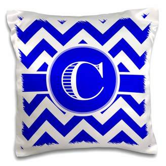 3dRose Blue and white chevron monogram white initial C - Pillow Case, 16 by 16-inch