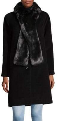 Jones New York J Petite Faux Fur Button Front Coat