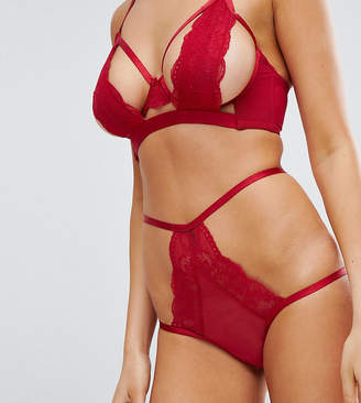 Wolfwhistle Wolf & Whistle Deep Red Cut Out High Waist Brief