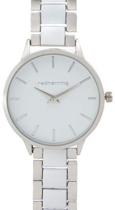 Red Herring Ladies White And Silver Plated Watch