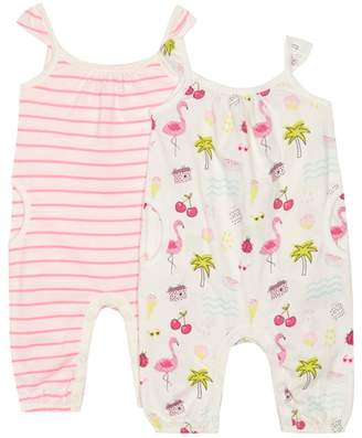 Bluezoo BLUE ZOO 'Set Of 2 Baby Girls' Cream Printed Romper Suits