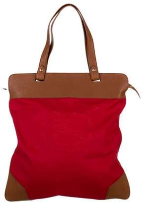 Burberry Leather-Trimmed Logo Tote Bag Red Leather-Trimmed Logo Tote Bag