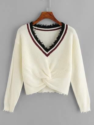 Shein Contrast Trim Twist Hem Sweater