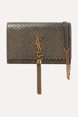 Saint Laurent Kate Small Snake-effect Metallic Suede Shoulder Bag - Gold