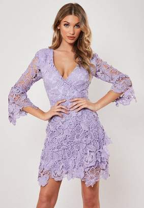 Missguided Lilac Lace Wrap Front Mini Dress