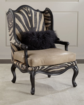 At Horchow · Massoud Wilder Leather Zebra Wing Chair