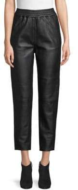 Cropped Leather Joggers