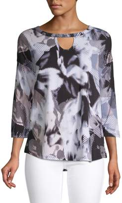 Calvin Klein Printed Three-Quarter Sleeve Top