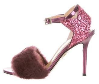 Charlotte Olympia Leather Peep-Toe Pumps