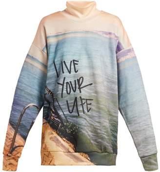 Marques Almeida Marques'almeida - Live Your Life Printed Jersey Sweatshirt - Womens - Blue Print