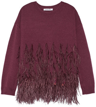 Elizabeth and James - Feather-trimmed Cotton-blend Sweater - Burgundy $485 thestylecure.com