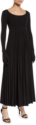 Awake Scoop-Neck Pleated Long Dress with Gloves
