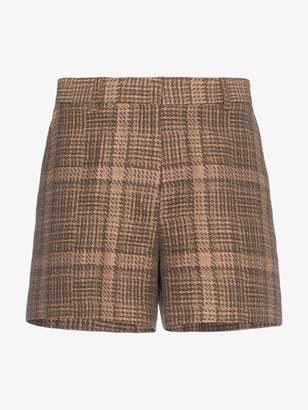 Dries Van Noten check cotton linen-blend shorts
