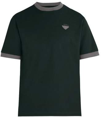 Prada Logo Applique Cotton Pique T Shirt - Mens - Green Multi