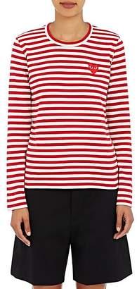 Comme des Garcons Women's Heart Striped Cotton T-Shirt - Red, White