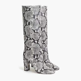 J.Crew Tall high-heel boots in faux snakeskin