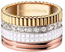 Boucheron Quatre Large 18K Gold & White Ceramic Ring with Diamonds, Size 51