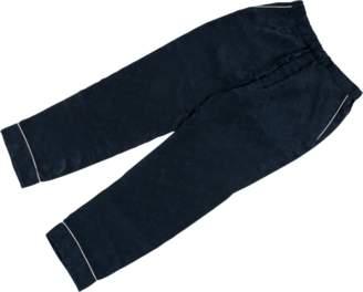 Louis Vuitton Jacquard Silk Pajama Pant - 42 'Louis Vuitton X Supreme' - Navy