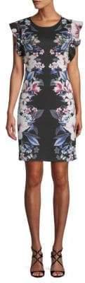ABS by Allen Schwartz Floral Flutter-Sleeve Dress