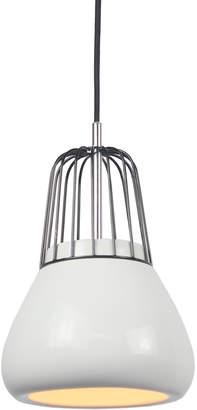 Luminite Blk Metal Wire Wht Pendant Light