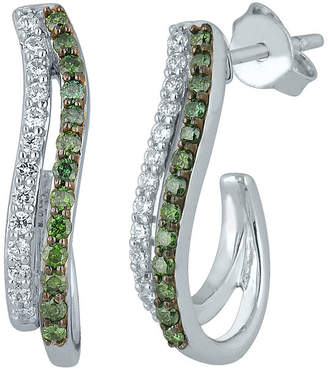 FINE JEWELRY 1/2 CT. T.W. White and Color-Enhanced Green Diamond Sterling Silver Earrings