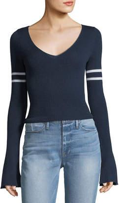 Frame V-Neck Long Bell-Sleeve Merino Wool Sweater