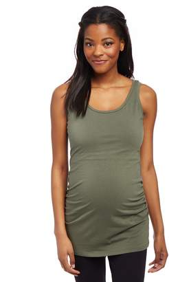 Motherhood Maternity Side Ruched Scoop Neck Maternity Tank Top