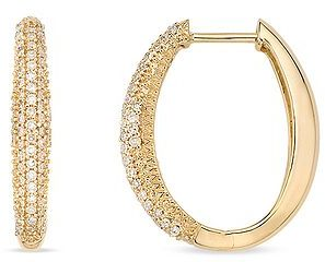 1/2 Carat Diamond 14K Yellow Gold Pave Set  Hinged Hoop Earrings