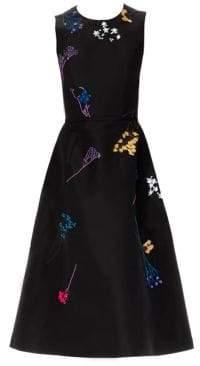 Carolina Herrera Floral Embellished Silk Cocktail Dress