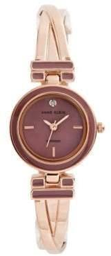 Anne Klein Analog Pink Dial Rose-Goldtone Bangle Watch