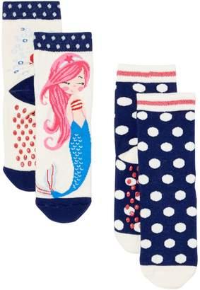 Benetton Girls Spotty Mermaid Socks 2-Pack