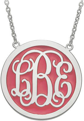 FINE JEWELRY Personalized Sterling Silver Round 32mm Enamel Monogram Necklace