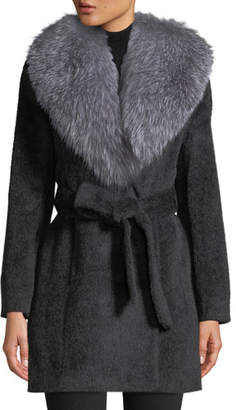 Sofia Cashmere Oversized Fur-Collar Belted Wrap Coat