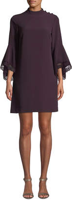 Tahari ASL Bell-Sleeve Crepe Sheath Dress