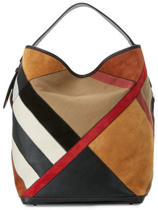 Burberry Ashby Colorblock Check Canvas Hobo Bag, Black/Multi $1,595 thestylecure.com