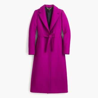 Tie-waist topcoat in double-serge wool