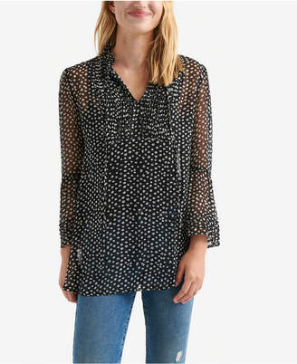Lucky Brand Pintucked Bell-Sleeve Chiffon Top