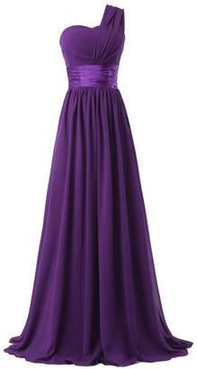 Ouman Oman Women's Chiffon One Shoulder Bridesmaids Dresses