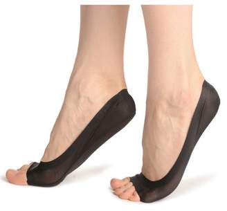 Pureaid Women\'s Open Toe Low Cut Arch Support Invisible Socks -Black