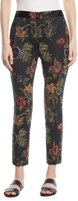 Rosetta Getty Floral-Jacquard Stretch Satin Skinny Trousers