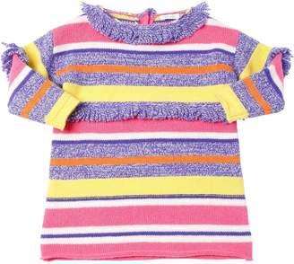 Il Gufo Striped Wool Knit Dress W/ Fringe