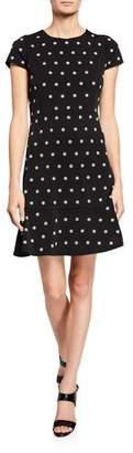 MICHAEL Michael Kors Flower-Print Cap-Sleeve Dress with Stud Embellishments